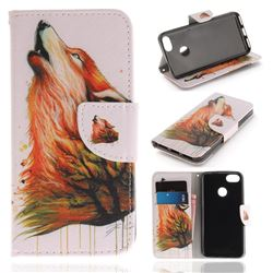 Color Wolf PU Leather Wallet Case for Huawei P9 Lite Mini (Y6 Pro 2017)