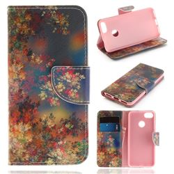 Colored Flowers PU Leather Wallet Case for Huawei P9 Lite Mini (Y6 Pro 2017)