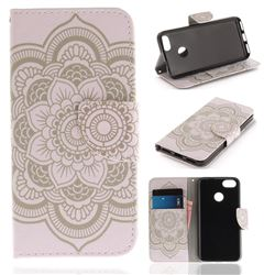 White Flowers PU Leather Wallet Case for Huawei P9 Lite Mini (Y6 Pro 2017)