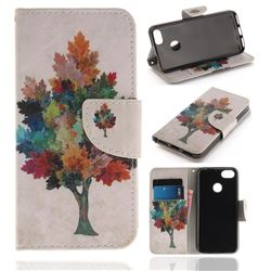 Colored Tree PU Leather Wallet Case for Huawei P9 Lite Mini (Y6 Pro 2017)