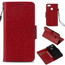 Retro Phantom Smooth PU Leather Wallet Holster Case for Huawei P9 Lite Mini (Y6 Pro 2017) - Red