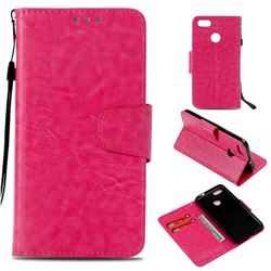 Retro Phantom Smooth PU Leather Wallet Holster Case for Huawei P9 Lite Mini (Y6 Pro 2017) - Rose