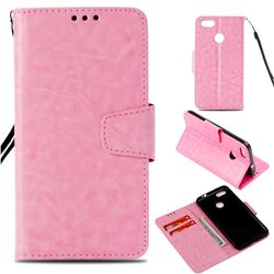 Retro Phantom Smooth PU Leather Wallet Holster Case for Huawei P9 Lite Mini (Y6 Pro 2017) - Pink