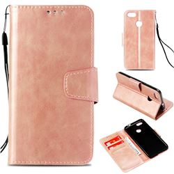 Retro Phantom Smooth PU Leather Wallet Holster Case for Huawei P9 Lite Mini (Y6 Pro 2017) - Rose Gold
