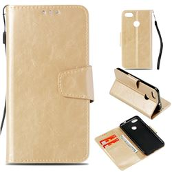 Retro Phantom Smooth PU Leather Wallet Holster Case for Huawei P9 Lite Mini (Y6 Pro 2017) - Champagne