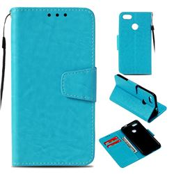Retro Phantom Smooth PU Leather Wallet Holster Case for Huawei P9 Lite Mini (Y6 Pro 2017) - Sky Blue