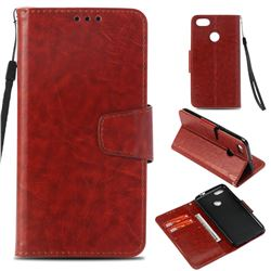 Retro Phantom Smooth PU Leather Wallet Holster Case for Huawei P9 Lite Mini (Y6 Pro 2017) - Brown