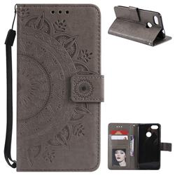 Intricate Embossing Datura Leather Wallet Case for Huawei P9 Lite Mini (Y6 Pro 2017) - Gray