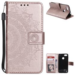 Intricate Embossing Datura Leather Wallet Case for Huawei P9 Lite Mini (Y6 Pro 2017) - Rose Gold
