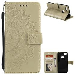 Intricate Embossing Datura Leather Wallet Case for Huawei P9 Lite Mini (Y6 Pro 2017) - Golden