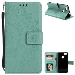 Intricate Embossing Datura Leather Wallet Case for Huawei P9 Lite Mini (Y6 Pro 2017) - Mint Green