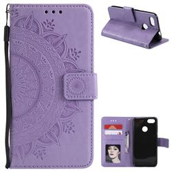 Intricate Embossing Datura Leather Wallet Case for Huawei P9 Lite Mini (Y6 Pro 2017) - Purple