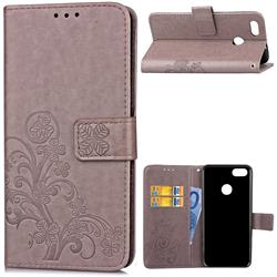 Embossing Imprint Four-Leaf Clover Leather Wallet Case for Huawei P9 Lite Mini (Y6 Pro 2017) - Grey