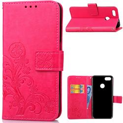 Embossing Imprint Four-Leaf Clover Leather Wallet Case for Huawei P9 Lite Mini (Y6 Pro 2017) - Rose