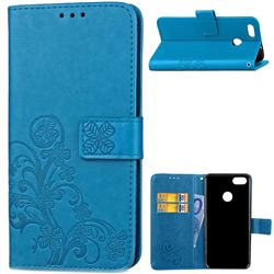 Embossing Imprint Four-Leaf Clover Leather Wallet Case for Huawei P9 Lite Mini (Y6 Pro 2017) - Blue