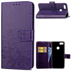 Embossing Imprint Four-Leaf Clover Leather Wallet Case for Huawei P9 Lite Mini (Y6 Pro 2017) - Purple