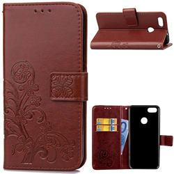Embossing Imprint Four-Leaf Clover Leather Wallet Case for Huawei P9 Lite Mini (Y6 Pro 2017) - Brown