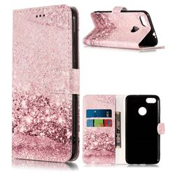 Glittering Rose Gold PU Leather Wallet Case for Huawei P9 Lite Mini (Y6 Pro 2017)