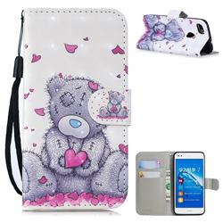Love Panda 3D Painted Leather Wallet Phone Case for Huawei P9 Lite Mini (Y6 Pro 2017)