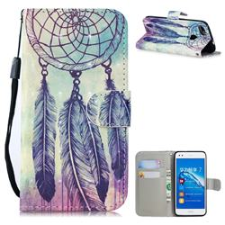 Feather Wind Chimes 3D Painted Leather Wallet Phone Case for Huawei P9 Lite Mini (Y6 Pro 2017)