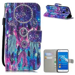 Star Wind Chimes 3D Painted Leather Wallet Phone Case for Huawei P9 Lite Mini (Y6 Pro 2017)