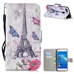 Paris Tower 3D Painted Leather Wallet Phone Case for Huawei P9 Lite Mini (Y6 Pro 2017)