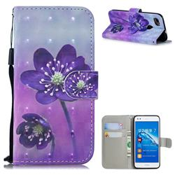 Purple Flower 3D Painted Leather Wallet Phone Case for Huawei P9 Lite Mini (Y6 Pro 2017)