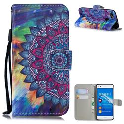 Oil Painting Mandala 3D Painted Leather Wallet Phone Case for Huawei P9 Lite Mini (Y6 Pro 2017)