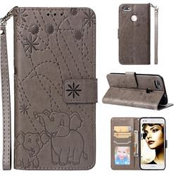 Embossing Fireworks Elephant Leather Wallet Case for Huawei P9 Lite Mini (Y6 Pro 2017) - Gray