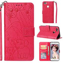 Embossing Fireworks Elephant Leather Wallet Case for Huawei P9 Lite Mini (Y6 Pro 2017) - Red
