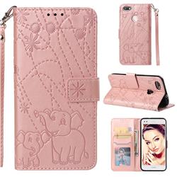 Embossing Fireworks Elephant Leather Wallet Case for Huawei P9 Lite Mini (Y6 Pro 2017) - Rose Gold
