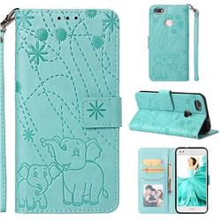 Embossing Fireworks Elephant Leather Wallet Case for Huawei P9 Lite Mini (Y6 Pro 2017) - Green