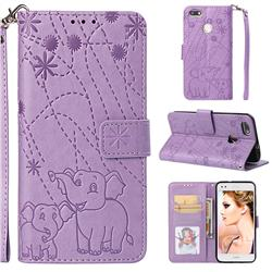 Embossing Fireworks Elephant Leather Wallet Case for Huawei P9 Lite Mini (Y6 Pro 2017) - Purple