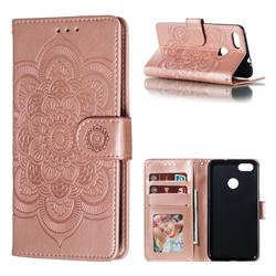 Intricate Embossing Datura Solar Leather Wallet Case for Huawei P9 Lite Mini (Y6 Pro 2017) - Rose Gold