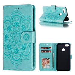 Intricate Embossing Datura Solar Leather Wallet Case for Huawei P9 Lite Mini (Y6 Pro 2017) - Green