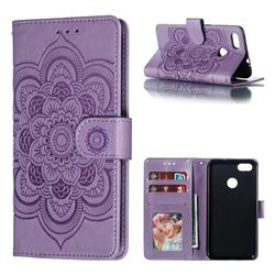 Intricate Embossing Datura Solar Leather Wallet Case for Huawei P9 Lite Mini (Y6 Pro 2017) - Purple