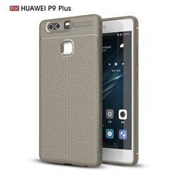 Luxury Auto Focus Litchi Texture Silicone TPU Back Cover for Huawei P9 Plus P9plus - Gray