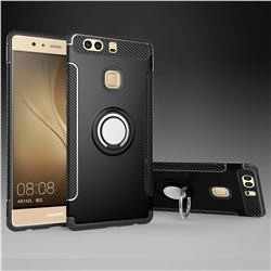 Armor Anti Drop Carbon PC + Silicon Invisible Ring Holder Phone Case for Huawei P9 Plus P9plus - Black
