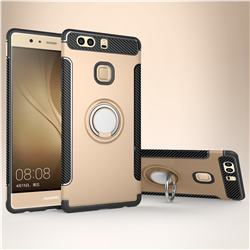 Armor Anti Drop Carbon PC + Silicon Invisible Ring Holder Phone Case for Huawei P9 Plus P9plus - Champagne