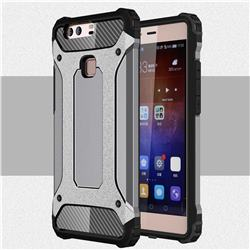 King Kong Armor Premium Shockproof Dual Layer Rugged Hard Cover for Huawei P9 Plus P9plus - Silver Grey