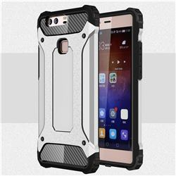 King Kong Armor Premium Shockproof Dual Layer Rugged Hard Cover for Huawei P9 Plus P9plus - Technology Silver