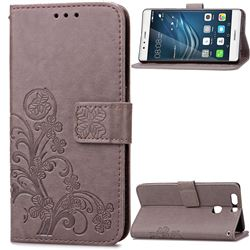 Embossing Imprint Four-Leaf Clover Leather Wallet Case for Huawei P9 Plus - Gray
