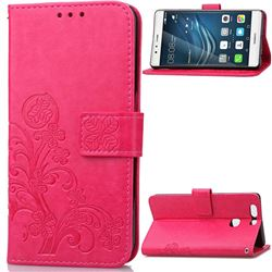 Embossing Imprint Four-Leaf Clover Leather Wallet Case for Huawei P9 Plus - Rose