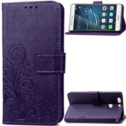 Embossing Imprint Four-Leaf Clover Leather Wallet Case for Huawei P9 Plus - Purple