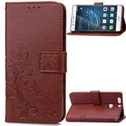 Embossing Imprint Four-Leaf Clover Leather Wallet Case for Huawei P9 Plus - Brown