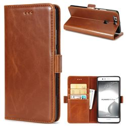 Luxury Crazy Horse PU Leather Wallet Case for Huawei P9 Plus P9plus - Brown