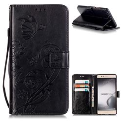 Embossing Butterfly Flower Leather Wallet Case for Huawei P9 Plus P9plus - Black