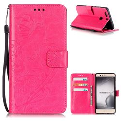 Embossing Butterfly Flower Leather Wallet Case for Huawei P9 Plus P9plus - Rose