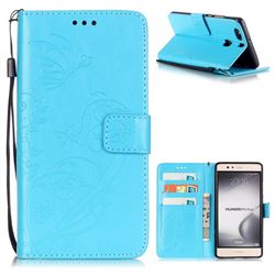 Embossing Butterfly Flower Leather Wallet Case for Huawei P9 Plus P9plus - Blue