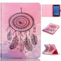 8 inch Universal Tablet Flip Cover Folio Stand Leather Wallet Case - Pink Campanula